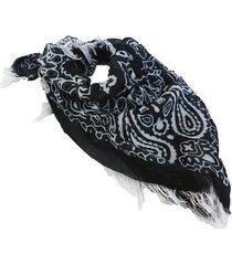 pañuelo negro nuevas historias  estampado desflecado ak88-12