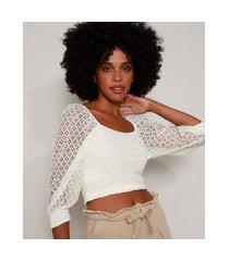 blusa de renda feminina cropped manga bufante decote reto off white