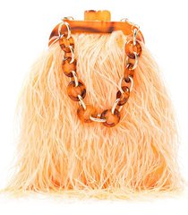 isla plumas feather clutch bag - orange