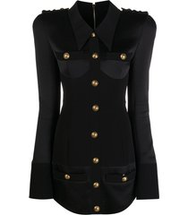 balmain short long sleeves corset effect satin shirt dress - black