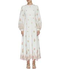 'poppy' floral embroidered scallop hem midi dress