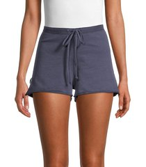 hard tail women's star cotton drawstring shorts - stormy blue - size m