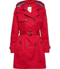 coats woven trenchcoat lange jas rood esprit casual