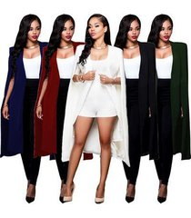 women fashion cape cardigan blazer plus size loose long cloak jacket trench coat