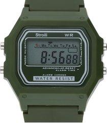 orologio digitale con cinturino verde militare in policarbonato per uomo