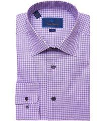 men's david donahue trim fit windowpane check dress shirt, size 17.5 - 34/35 - purple