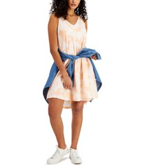 style & co petite printed hi-lo swing dress, created for macy's