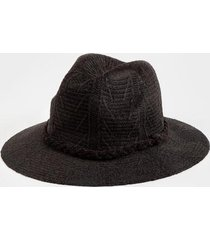 danielle pattern trim panama hat - black