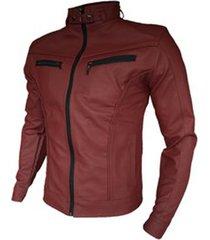 chaqueta cuerotex tipo slim casual color rojo