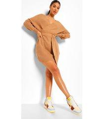 geribbelde gebreide mini jurk met vleermuismouwen, camel