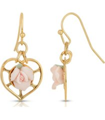 2028 14k gold-dipped heart with porcelain rose earrings