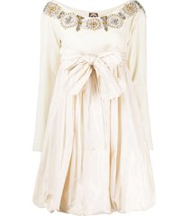 a.n.g.e.l.o. vintage cult 1990s oversized bow beaded dress - neutrals