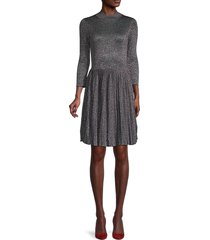 ted baker london women's metallic pleated fit-&-flare dress - gunmetal - size 2 (6)