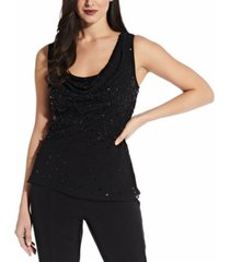 adrianna papell beaded cowlneck top