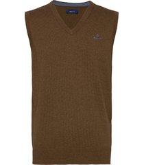 classic cotton slipover stickad tröja v-krage brun gant