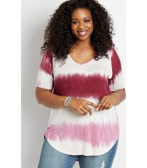 maurices plus size womens 24/7 flawless magenta tie dye tee pink