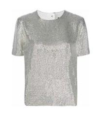 rag & bone camiseta com estampa metálica - prateado