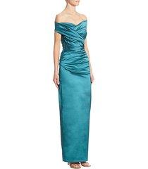 off-the-shoulder silk column gown