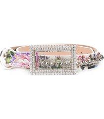 philipp plein crystal-embellished floral print belt - white