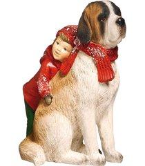 enfeite natal decorativo crianã§a deitada no cachorro 15cm - vermelho - dafiti