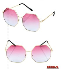 classic vintage cool retro style sunglasses gold octagon frame pink blue lens