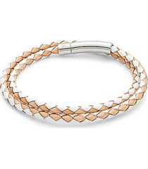 stainless steel & leather double wrap bracelet