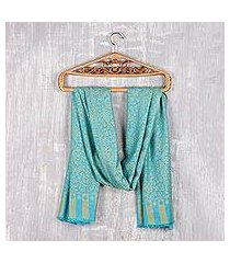 modal jacquard shawl, 'paisley fanfare in maize' (india)