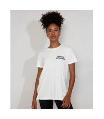 "t-shirt feminina mindset creative department"" manga curta decote redondo off white"""
