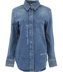 stella mccartney denim shirt with embroidered writing