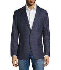 windowpane wool & silk-blend blazer