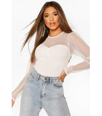 dobby mesh sleeve ruched detail top, ivory
