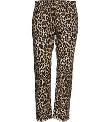 cheetah cropd drain pantalon met rechte pijpen bruin michael kors