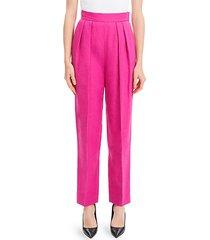 high-waist pleated linen pants