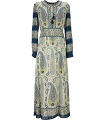 etro mosaic paisley print dress blue