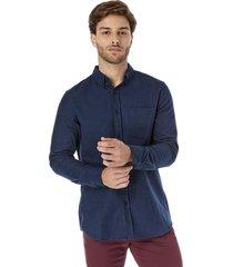 camisa franela lisa melange azul corona