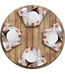 jogo americano   para mesa redonda wevans modern christmas  love decor