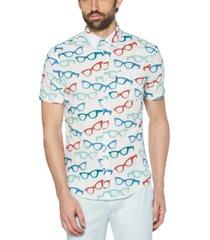 original penguin men's heritage slim-fit glasses-print shirt