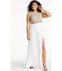 city studios trendy plus size lace top & long wrap skirt