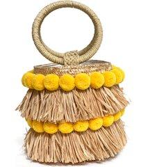 btb los angeles liv round bucket bag with bracelet handles - beige
