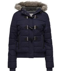 microfbre toggle puffle jacket gevoerd jack blauw superdry