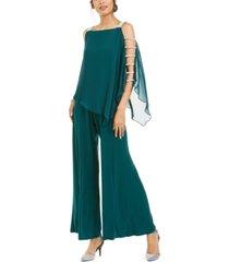 msk embellished chiffon-overlay jumpsuit