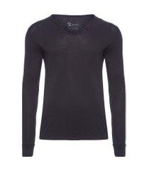 t-shirt masculina manga longa com botões acabamento a fio slim fit algodão pima - preto