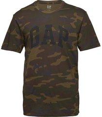 logo camo print t-shirt t-shirts short-sleeved grön gap