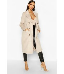 brushed wool look double breasted coat, stone