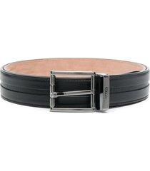 bally astor textured stripe leather belt - black