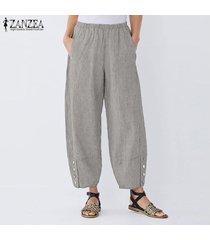 zanzea elástico de las mujeres de la cintura casual pantalones harem largas y anchas piernas del pantalón holgado -marrón