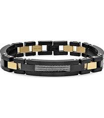 18k goldplated & stainless steel link bracelet
