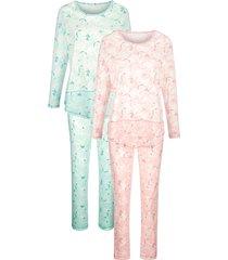 pyjama's per 2 stuks harmony oudroze::jadegroen::ecru