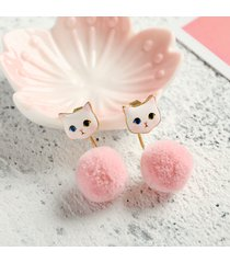 donna orecchini a chiodo di cartoon gatto con pompons di pelliccia gioielli femminili semplici regalo carino