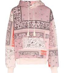 amiri bandana print hoodie - pink